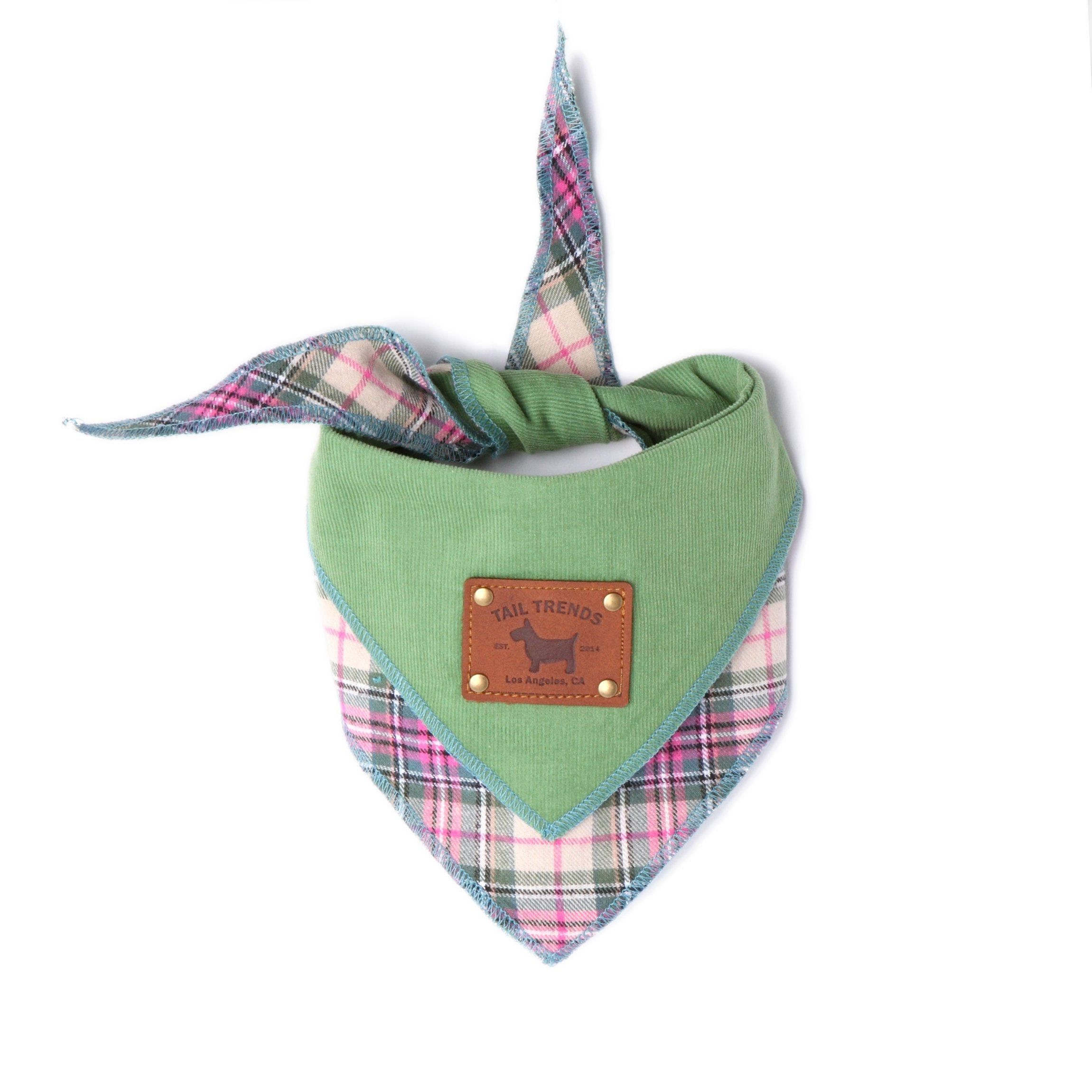 Tail Trends Floral Green Corduroy Reversible Dog Bandanas with Leather Patch for Medium to Large Sized Dogs - 100% Cotton