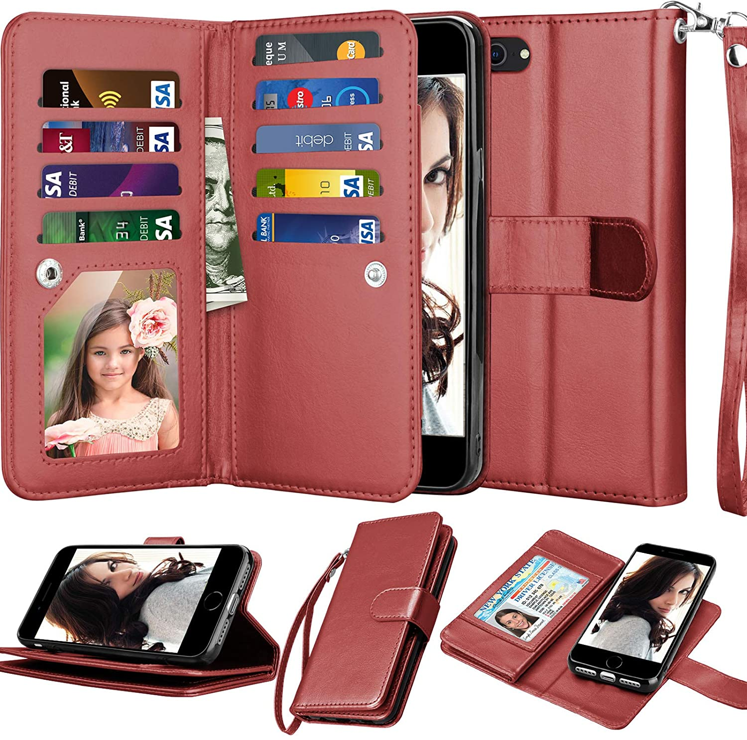 Njjex Wallet Case For iPhone SE 2020/SE2, for iPhone 8/iPhone 7 Case, [9 Card Slots] PU Leather Credit Holder Folio Flip [Detachable] Kickstand Lanyard Magnetic Phone Cover For iPhone SE 2nd -Wine Red