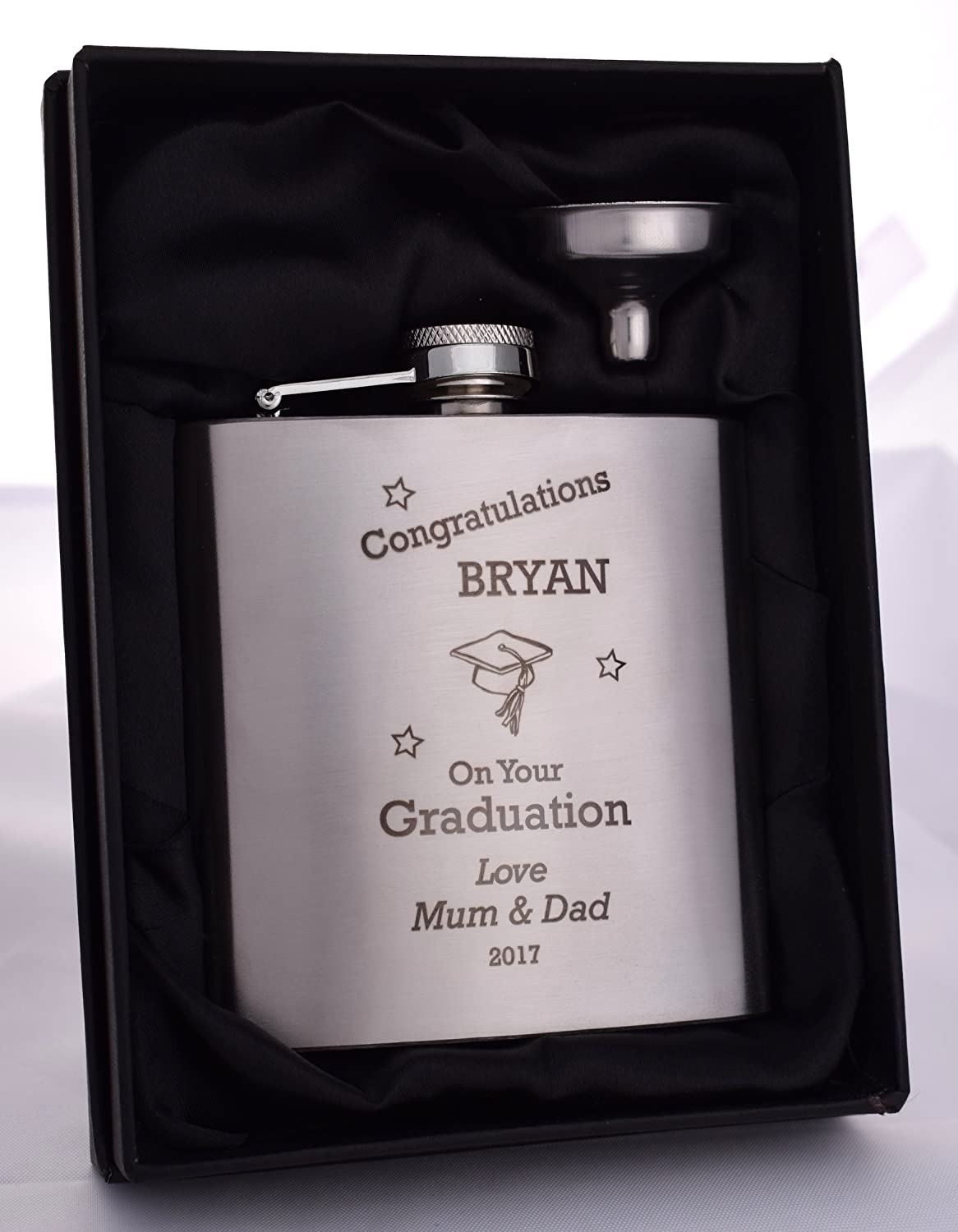 Laser Personalised//Engraved *NEW* GRADUATION Hip Flask In Silk Gift Box
