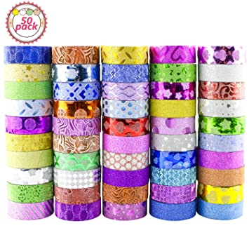 Washi Tape, Buluri 50 Rollos Cinta Adhesiva Washi Glitter Adhesivo de Cinta Decorativa para Scrapbooking DIY Crafts: Amazon.es: Hogar