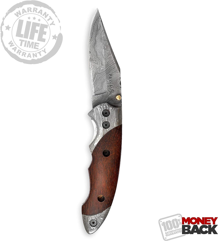 Perkin Knives - Navaja de Bolsillo Hecha a Mano, Hoja de Acero de Damasco: Amazon.es: Deportes y aire libre