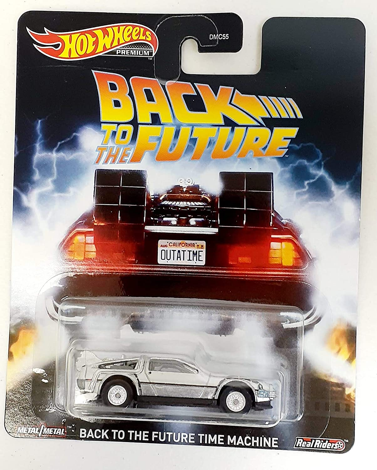 Hot Wheels PREMIUM BACK TO THE FUTURE Delorean TIME MACHINE Real Rider Tires NEW