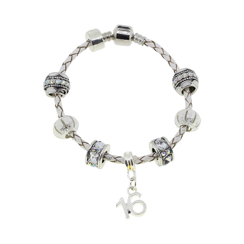 06aba4978 ... 16th Birthday Leather Charm Bracelet Pandora Style Gift Boxed 19cm  Amazon.co.uk Jewellery