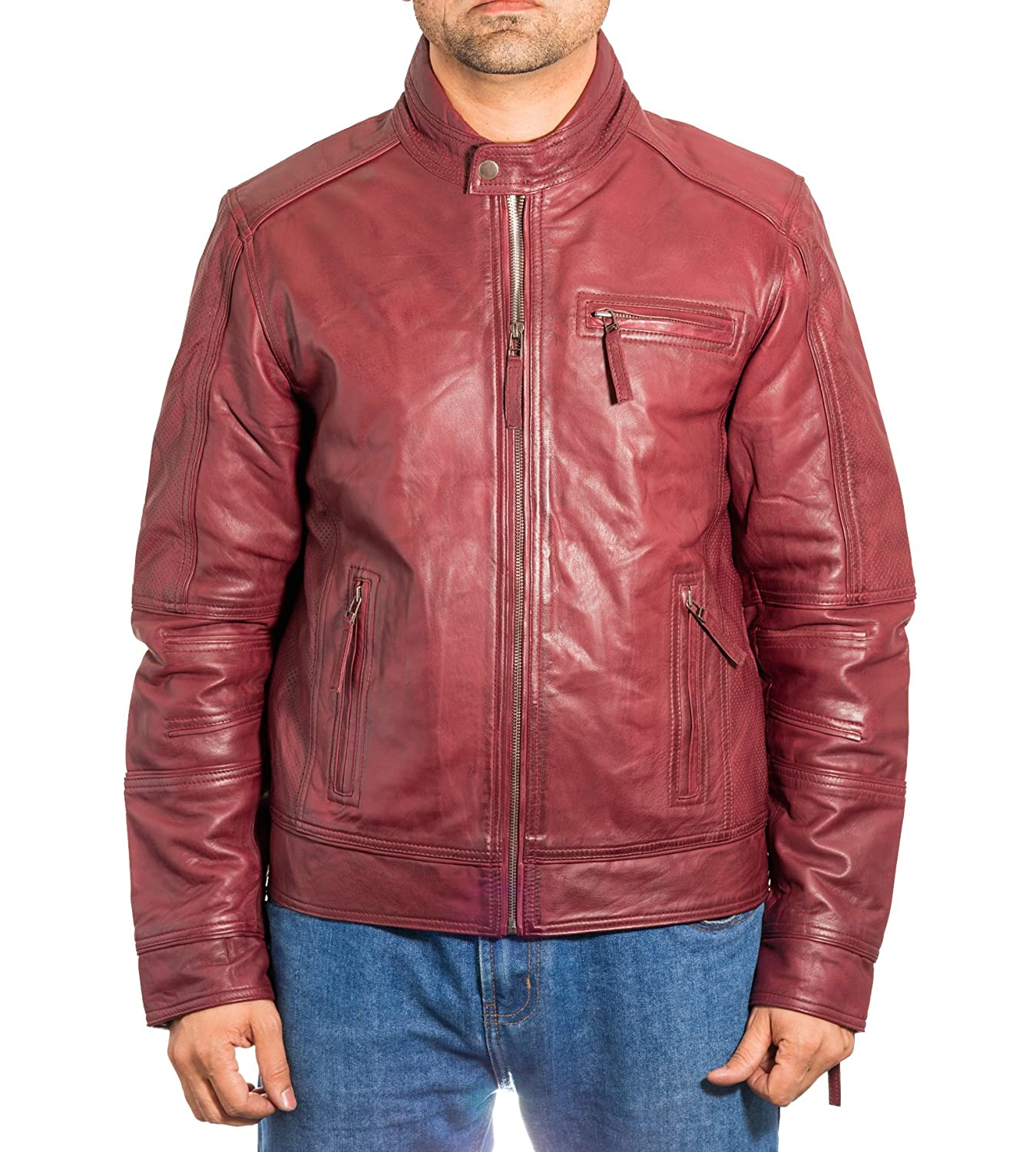 Mens Burgundy Leather Collarless Summer Zipped Biker Jacket With Perforated Detailing