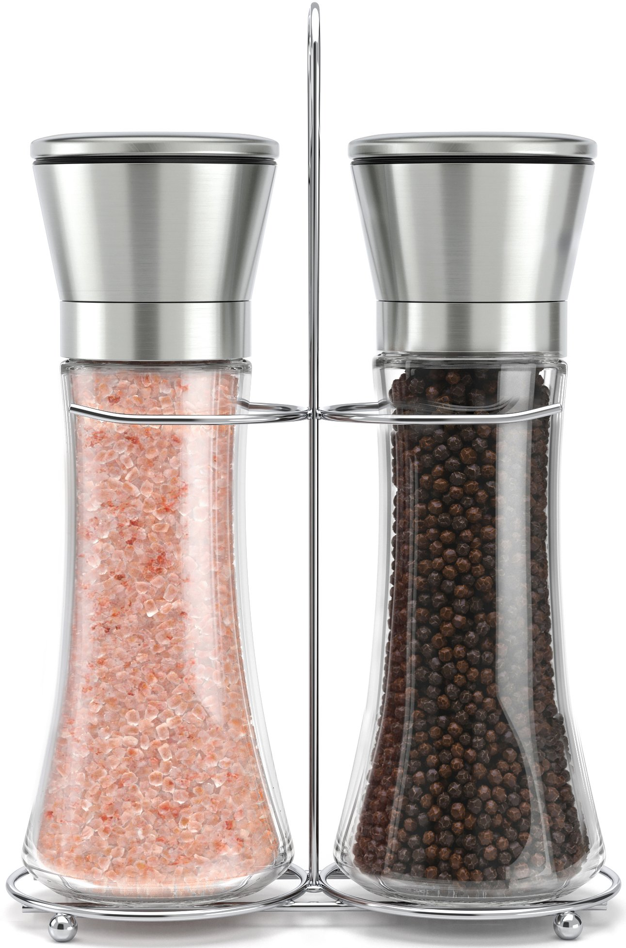 Original Stainless Steel Salt and Pepper Grinder Set With Stand - Tall Salt and Pepper Shakers with Adjustable Coarseness - Salt Grinders and Pepper Mill Shaker Set by Willow & Everett