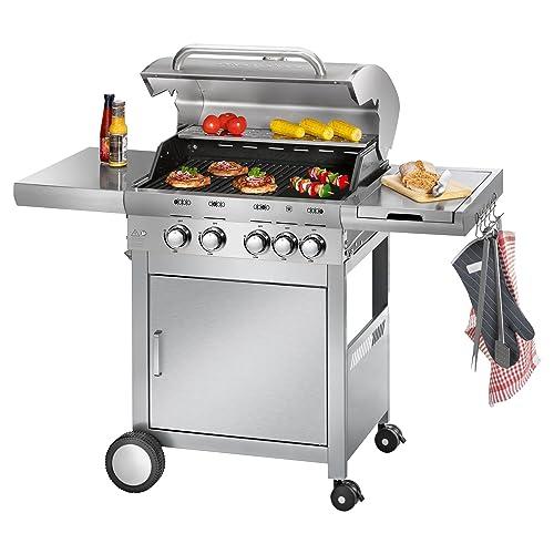 ProfiCook PC-GG 1059 - Gasgrill 4 Edelstahlbrenner - 1 zusätzliche Kochstelle 4 Heizzonen für individ Temperatursteuerung stufenlose Temperatureinstellung herausnehmbarer Fettauffangbehälter Temperaturanzeige Edelstahlfront und -haube