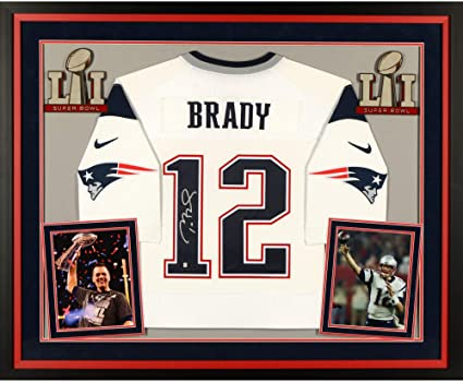 low priced 16c2e 149e7 Tom Brady New England Patriots Super Bowl LI Champions Deluxe Framed  Autographed White Nike Limited Jersey