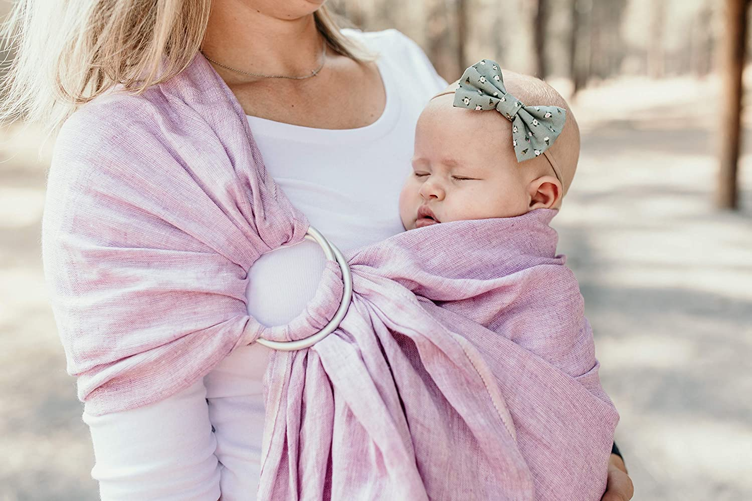 Infants and Toddlers Perfect Baby Show Gift Nursing Cover Baby Carrier Ring Sling by Hip Baby Wrap for Newborns Oat - eco-Friendly Beautiful 100/% Linen Great for New mom and dad