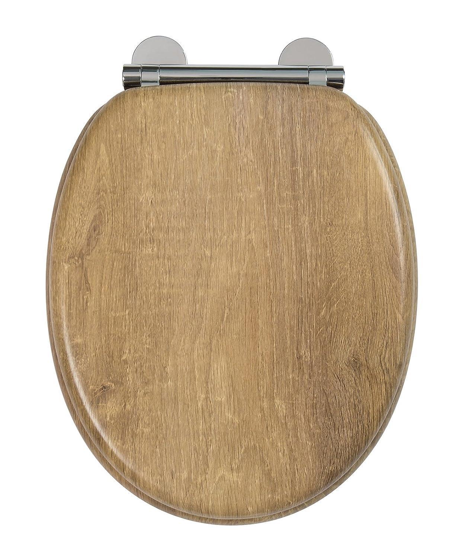 Croydex Flexi-Fix Ontario adapté à ne jamais Se Glisse Fermeture Lente Abattant de WC, Effet de Teck, Bois, Effet en Teck Vieilli, 45x 37.8x 6cm 45x 37.8x 6cm WL602086H