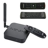 MINIX Neo U1 Android Lollipop 5.1.1 Smart TV Box Amlogic S905 Quad-core HDMI2.0 4K 2GB/16GB 2.4/5GHz 2x2 MIMO WiFi Gigabit Ethernet Bluetooth 4.1 / Minix A2 Lite 2.4GHz Double-sided Air Mouse pour Netflix, Youtube, Facebook, Skype et de Nombreux Programmes de Télévision