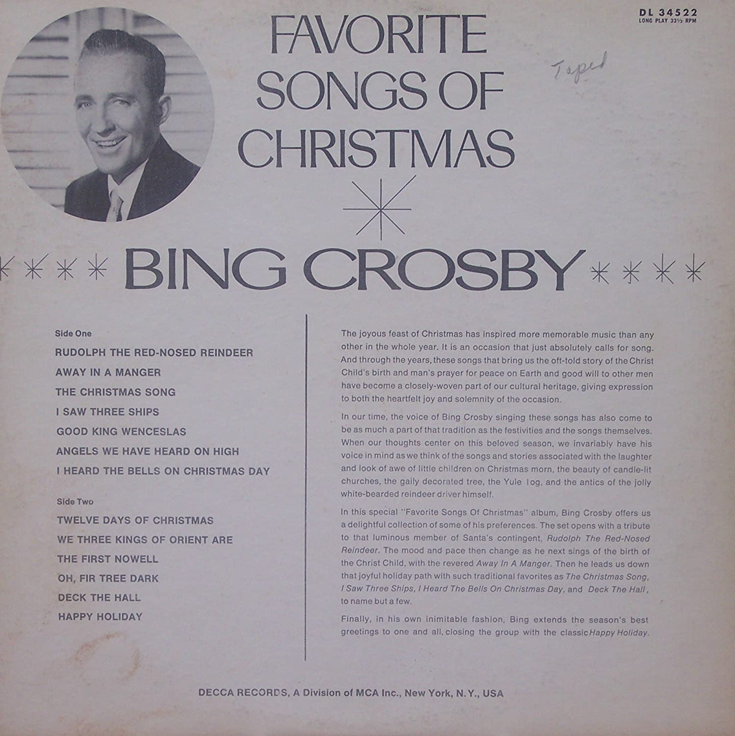 Bing Crosby Favorite Songs Of Christmas With Norman Rockwell Cover