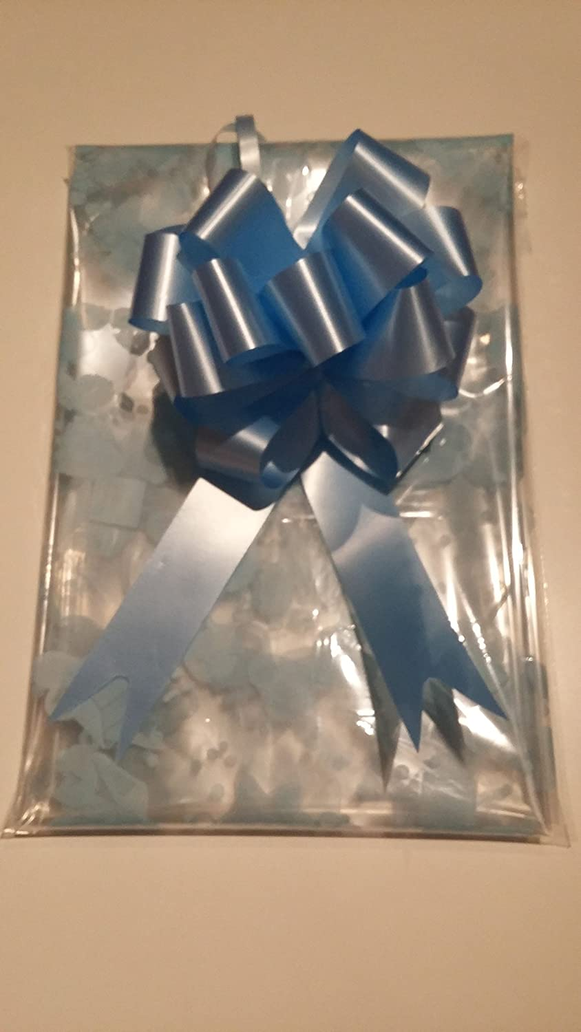 3m x 80cm Baby Print Cellophane Blue /& Blue Bow FOLDED for postage