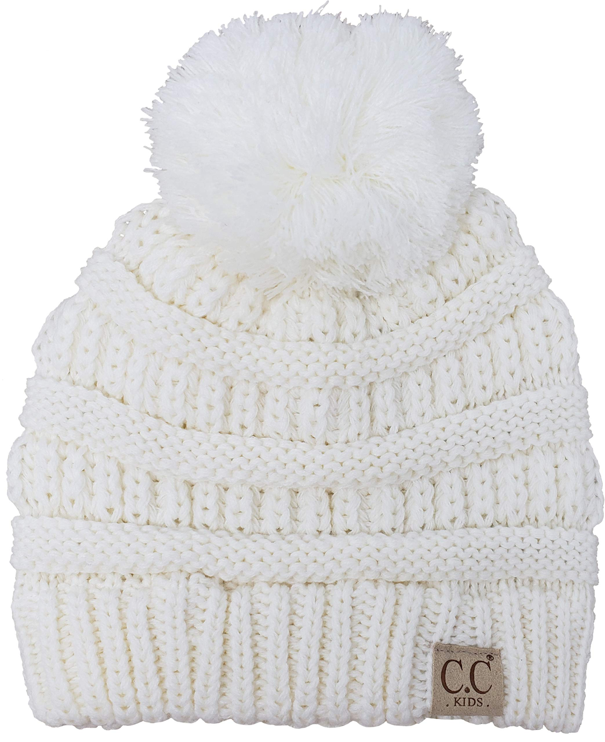 H-6847-25 Girls Winter Hat Warm Knit Slouchy Toddler Kids Pom Beanie - Ivory