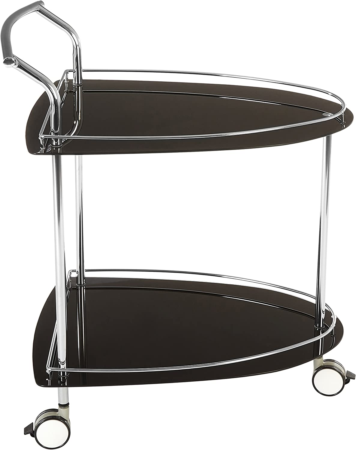 84 x 82 x 52 cm Premier Housewares carrello con due piani in vetro nero e telaio cromato forma triangolare