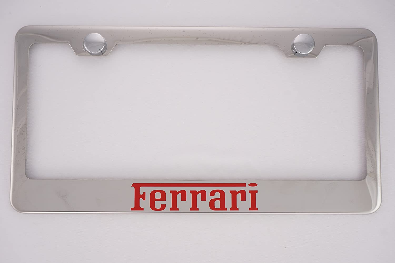 Ferrari Chrome License Plate Frame with Caps PCR