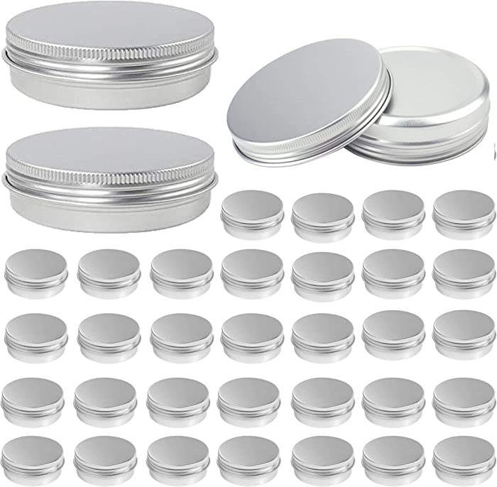 48 Pcs Aluminum Round Cans with Lid, OBKJJ 2 Oz Metal Tins Food Candle Containers with Screw Tops for Crafts, Food Storage, DIY (Silver)
