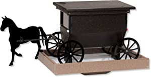 DutchCrafters Horse and Buggy Poly Post Mount Bird Feeder (Black & Weathered Wood)