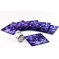 "Drink Coaster Gift Set 6 Purple Square Tempered Glass Coasters, Large size 4""x4"", floral design, great for indoor, outdoor, kitchen, dining, bar, hot, cold beverages, suit wine glasses, tea or coffee cups"