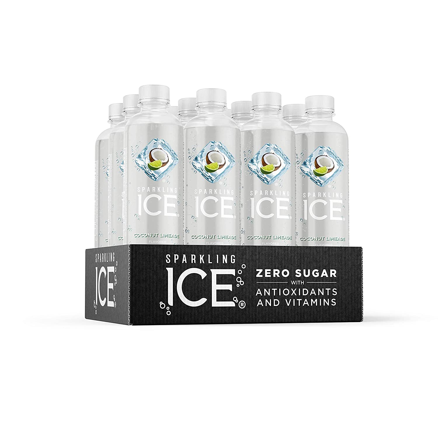 Sparkling Ice, Coconut Limeade Sparkling Water, with Antioxidants and Vitamins, Zero Sugar, 17 fl oz Bottles (Pack of 12)