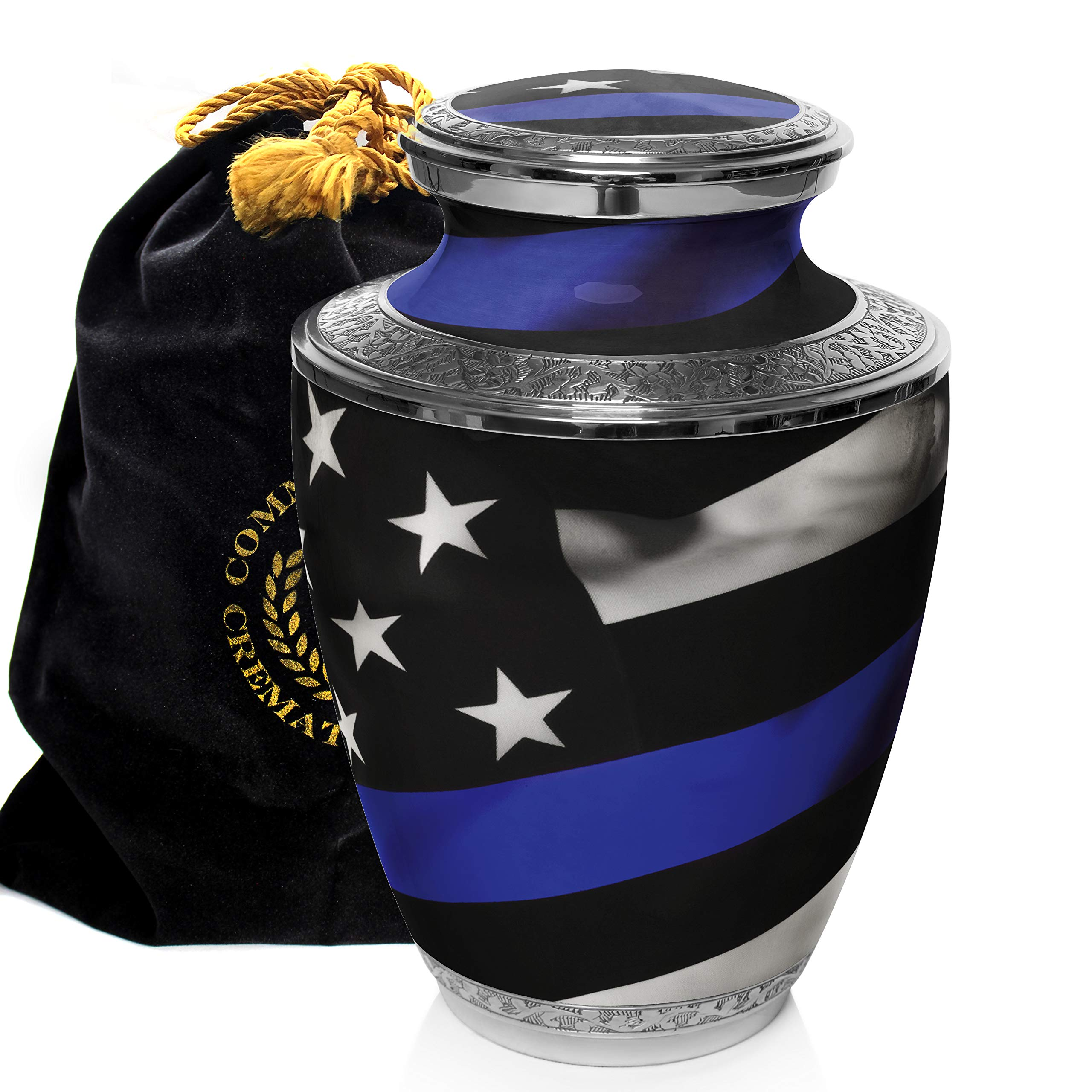 Blue Line Flag - Police and Law Enforcement Cremation Urns for Adult Ashes - for Funeral, Niche, Columbarium or Burial - Urns for Ashes - Large, Medium, Extra Large and Keepsake (Large/Adult)