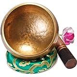 Original Tibetische Klangschale 12cm. Klangschalen Set mit Klöppel und Klangschalenkissen in Loktapapier Geschenk-Box. Singing Bowl aus Tibet