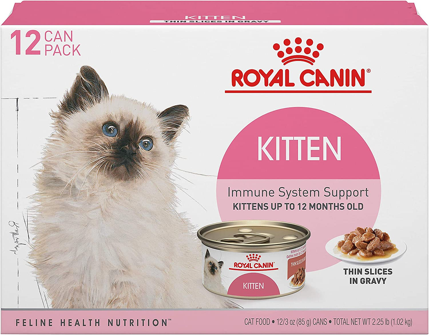 Royal Canin Feline Health Nutrition Thin Slices in Gravy Variety Pack Wet Kitten Food, 3 oz., Count of 12, 12 CT