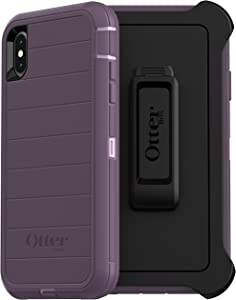 OtterBox Defender Series Rugged Case & Holster for iPhone Xs MAX - Retail Packaging - Purple Nebula (with Microbial Defense)