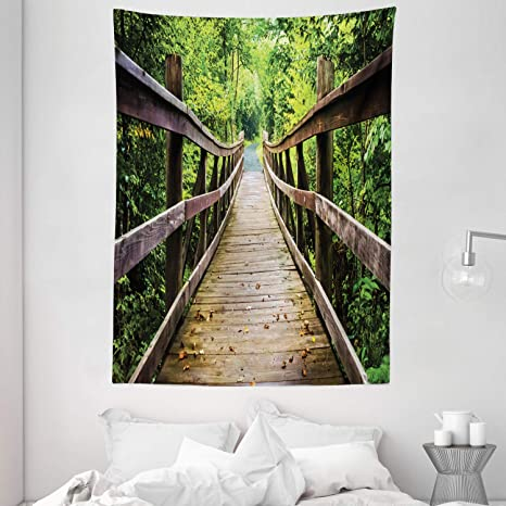 Amazon Com Ambesonne Landscape Tapestry Rustic Wooden Bridge Limberlost Trail In Shenandoah National Park Virginia Wall Hanging For Bedroom Living Room Dorm Decor 60 X 80 Brown And Green Home Kitchen