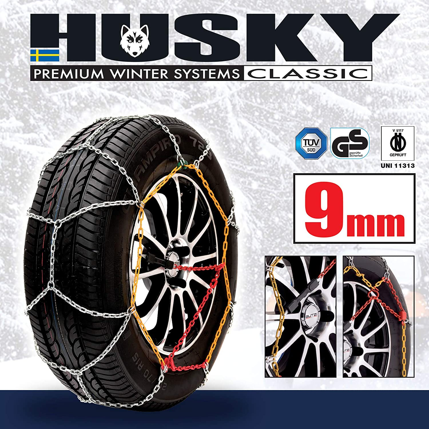 225//35 R18 Husky Sumex Winter Classic Alloy Steel Snow Chains for 18 Car Wheel Tires PAIR