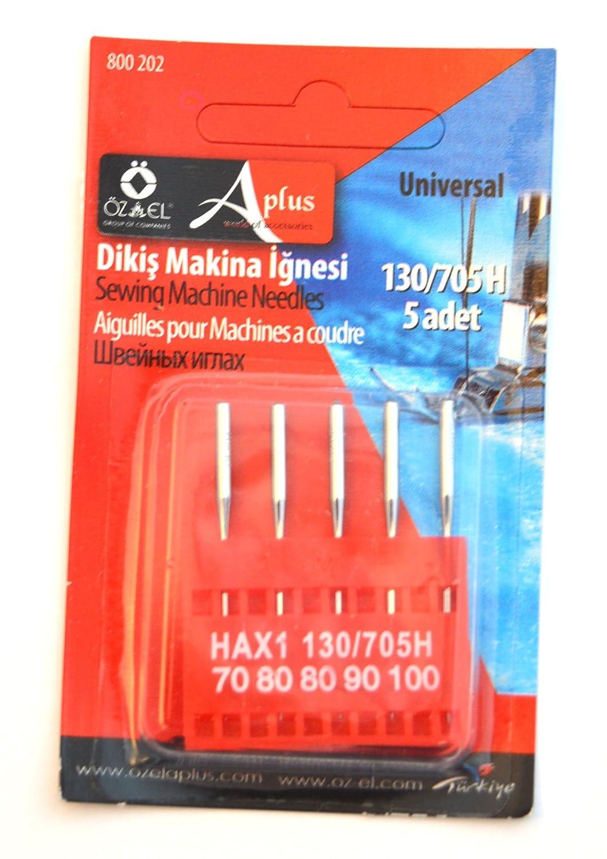 Ozelaplus Argento Aghi per Macchine da Cucire universali Misure 70//80//80//90//100 per Uso Generico Confezione di 5