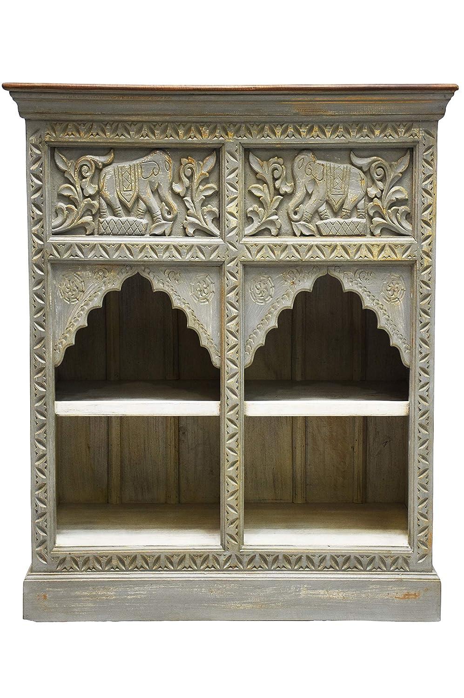 Orientalische Kommode Sideboard Hasana 95cm Grau Braun | Orient Vintage Kommodenschrank orientalisch Handverziert | Indische Landhaus Anrichte aus Holz | Asiatische Möbel aus Indien