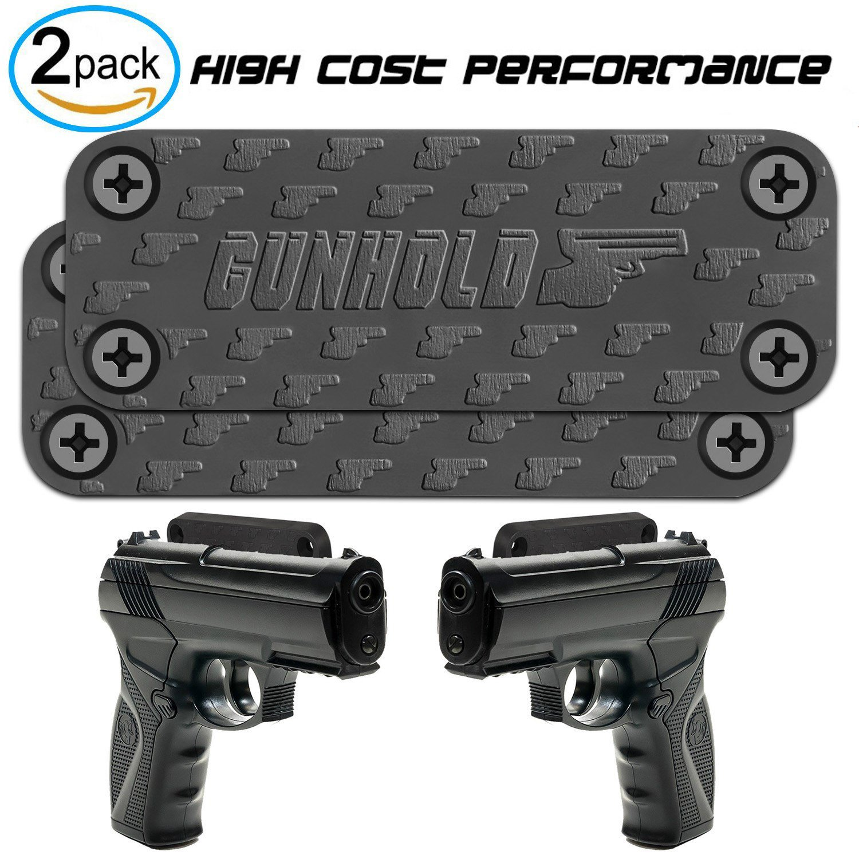 GUNHOLD 2-Pack Magnetic Gun Mount & Car Holster - Rubber Coated 4-Screw Magnetic Car & Truck Holster   Firearm Accessory   Concealed Handgun, Pistol, Shotgun, Rifle Holder