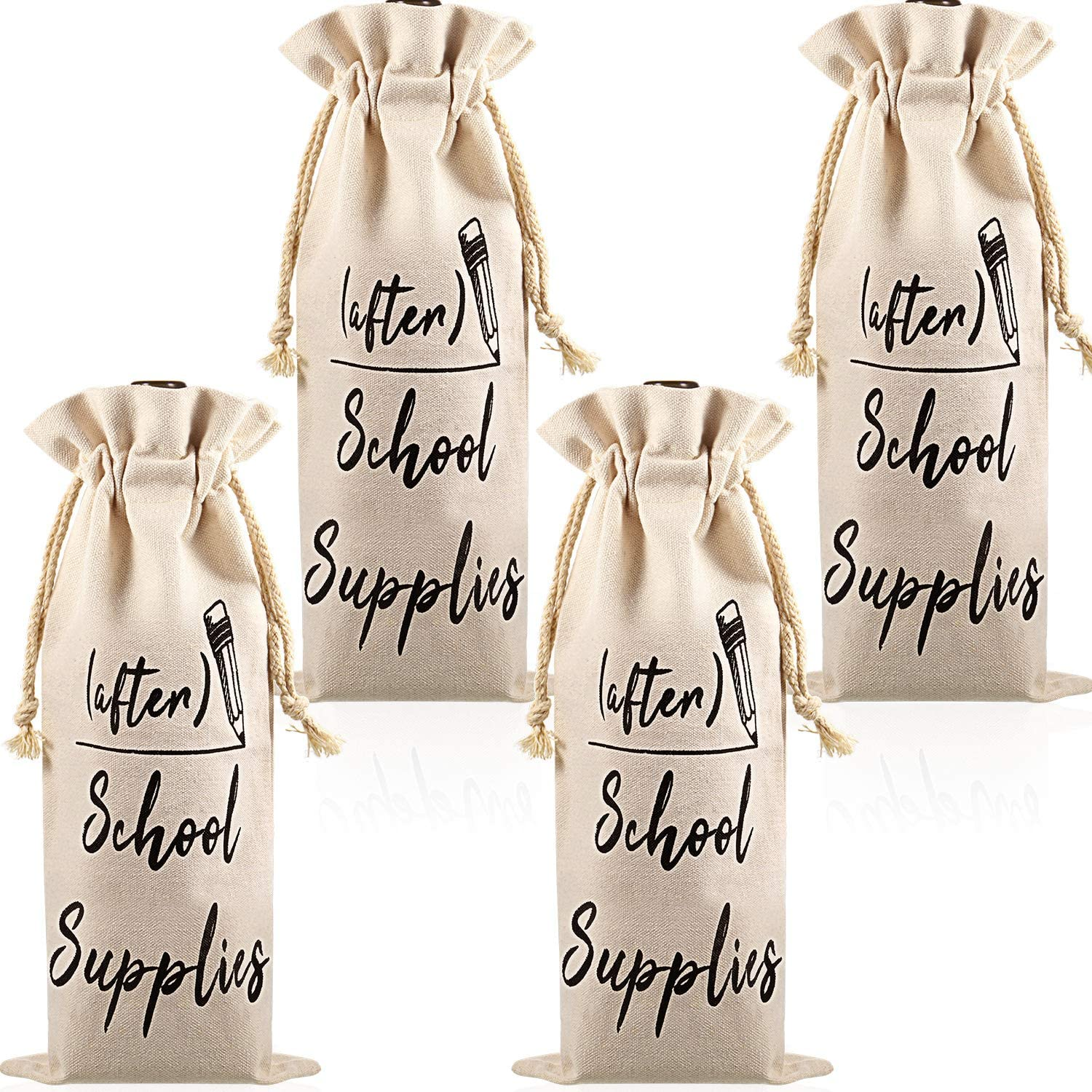 Wine Bottle Burlap Gift Bag Tote with Drawstrings Gift Tag Included Because Back to School Teacher Mom Gift Friend Funny
