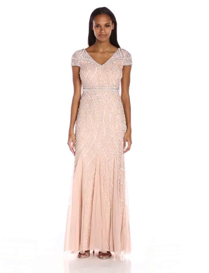 Amazon.com: Adrianna Papell Women\'s Cap Sleeve Beaded Lace Godet ...