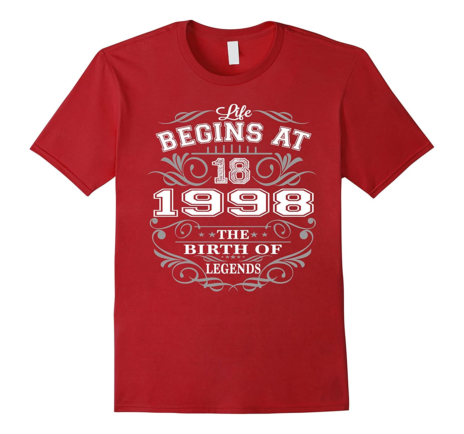 18 year old birthday gifts Life Begins at 18 1998 T Shirt-BN