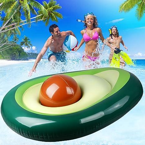 Skyoo Avocado - Piscina flotante, hinchable, hamaca flotante para piscina, hamaca para agua o hamaca, lujosa piscina para adultos y niños – 165,1 x ...