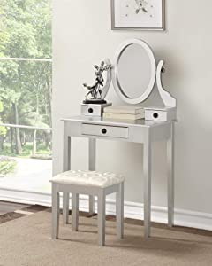 Roundhill Furniture 3415SL Moniys Wood Moniya Makeup Vanity Table and Stool Set, Silver
