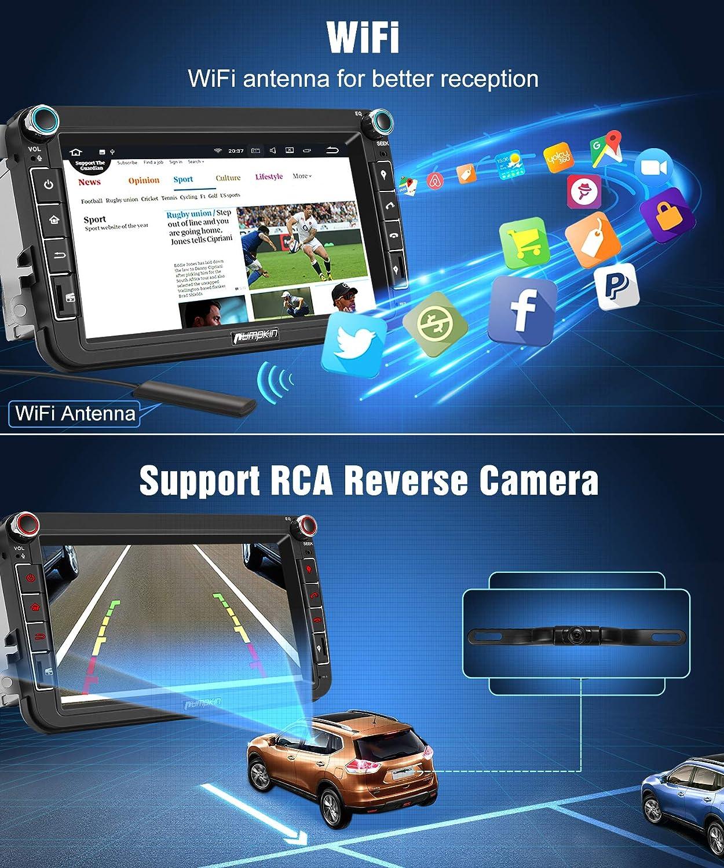 Pumpkin Android 8.1 Autoradio GPS con HD Pantalla IPS para VW Golf Seat Jetta Passat Polo Skoda Series soporta Bluetooth / USB / WiFi / Subwoofer / Dab ...