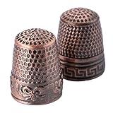 2Pcs Red Bronze Finger Thimble Sewing Grip Fingertip Protector Metal Shield Pin Needles Partner for DIY Crafts Tools Needlework