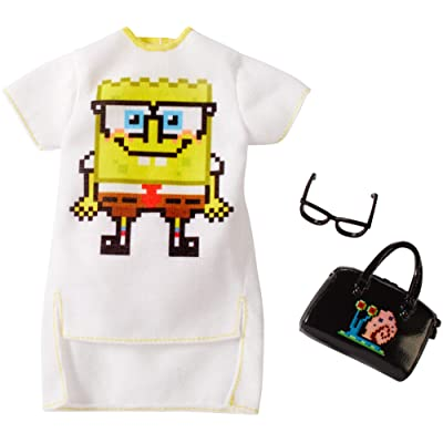 Barbie Clothes: Spongebob Squarepants Outfit with White Dress for Barbie Doll, Gift for 3 to 8 Year Olds: Toys & Games