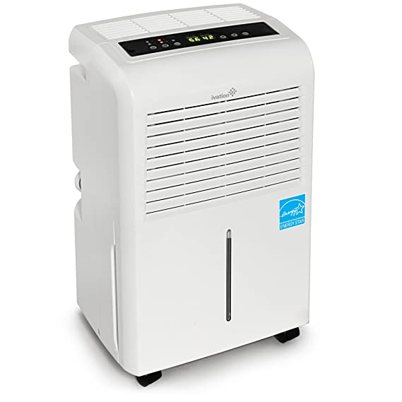 Ivation 30 Pint Energy Star Dehumidifier - Includes Programmable Humidistat, Hose Connector, Auto Shutoff/Restart, Timer, Casters & Washable Air Filter