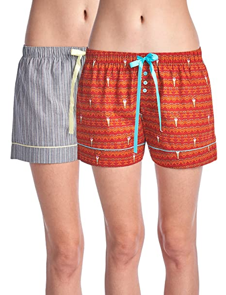 Casual Nights Women s 2 Pack Cotton Woven Lounge Boxer Shorts - Cow Skull  Fair Isle  d94ea343d