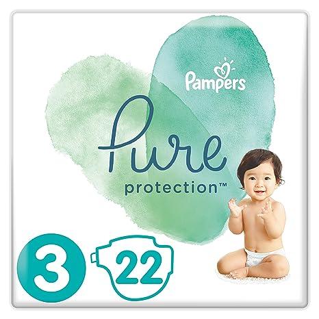 Pampers Pure Protection, Gr.3 Midi 6-10 kg, Tragepack (1 x 22 Stück), mit Premium-Baumwolle