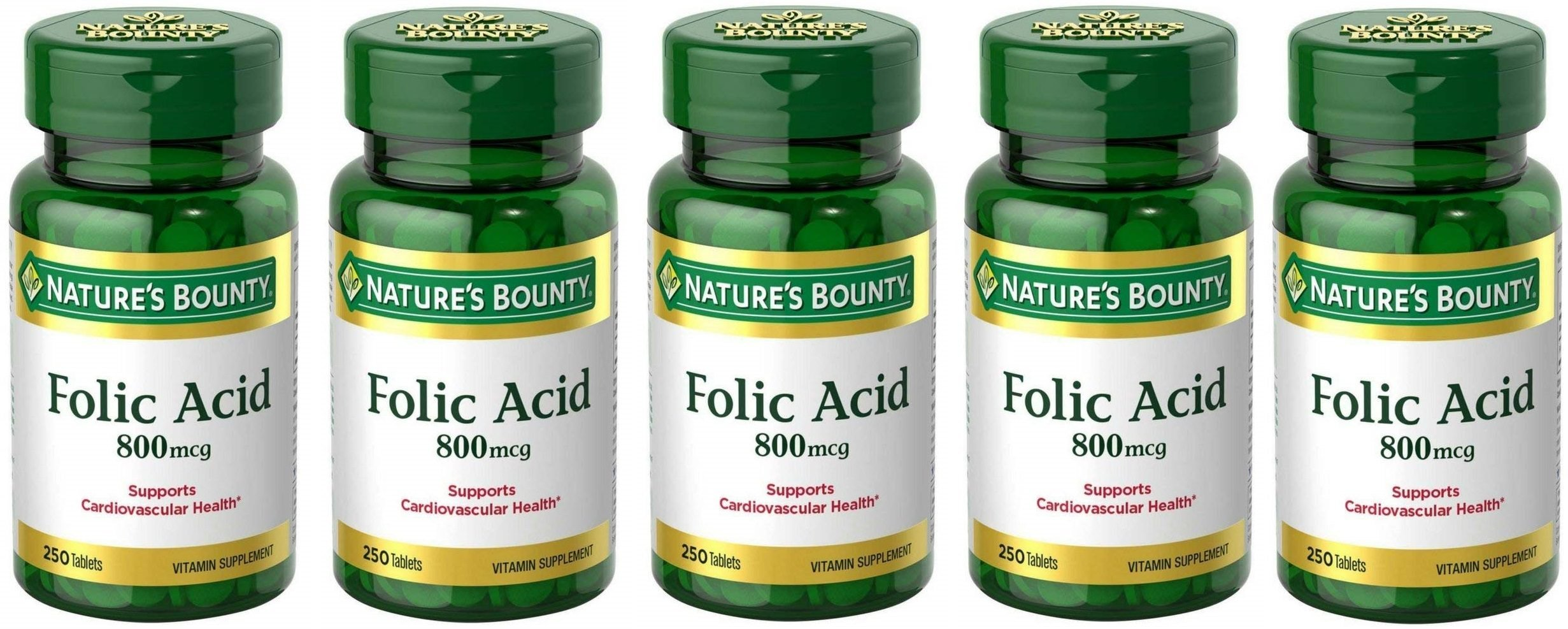 Folic Acid 800 mcg Tablets Maximum Strength, 5 Bottles (250 Count)