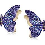 Betsey Johnson (Gbg) Pave Butterfly Stud Earrings, Purple, One Size