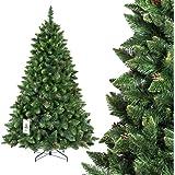 FAIRYTREES sapin arbre de Noêl artificiel PIN, naturel vert, matière PVC, pommes de pin vraies, socle en métal, 180cm