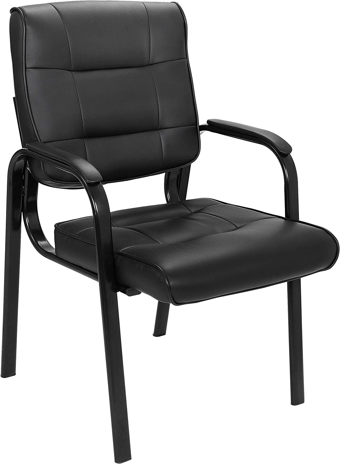 ZenStyle Leather Guest Chair Office with Metal Frame, Bonded Leather Padded Arm Rest Chairs for Waiting Room, Reception Meeting, Conference