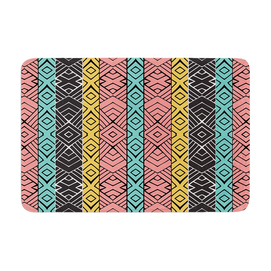 Kess InHouse Pom Graphic Design Artisian Pink Teal Memory Foam Bath Mat 17 by 24