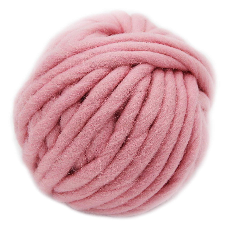 FloraKnit 100% Merino Wool Chunky Yarn Bulky Roving Yarn (Red, 250g-20mm) FLORAVOGUE BKY-1001-C9RD