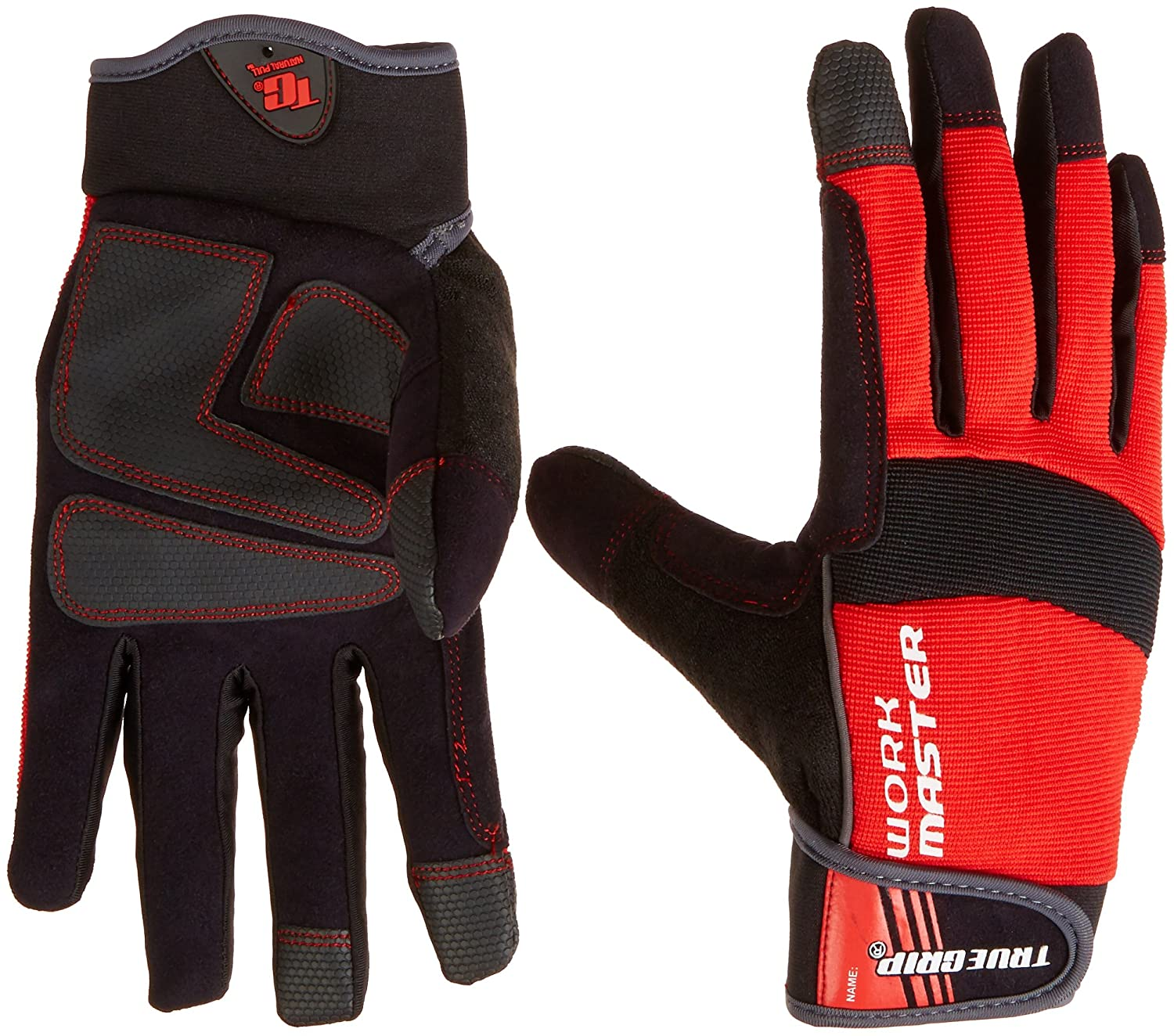 True Grip 9824-23 X-Large Work Master Gloves with Touchscreen Fingers, Red/Black